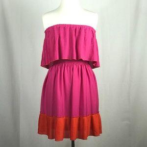 Pink and Orange Strapless Dress